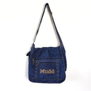 VINTAGE MUDD Blue Jean Denim Laptop Messenger Bag